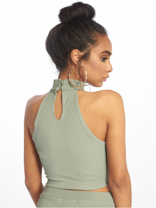 Missguided Top Ribbed Sleeveless grün