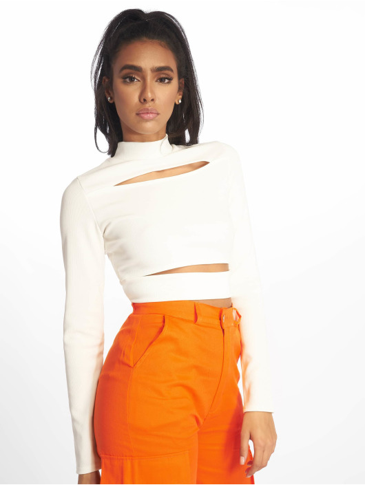 Missguided Top Ribbed High Neck Cut Out hvid