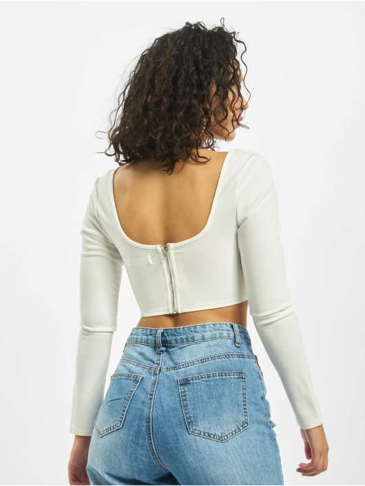 Missguided Top High Bust Point Long Sleeve hvid
