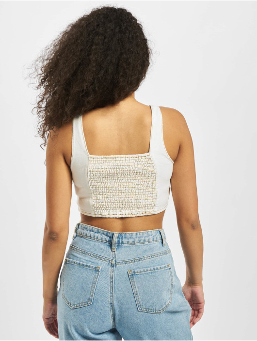 Missguided Top Contrast Stitch Coord hvid