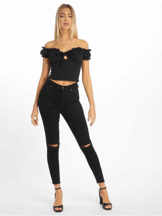 Missguided Top Milkmaid Tie negro