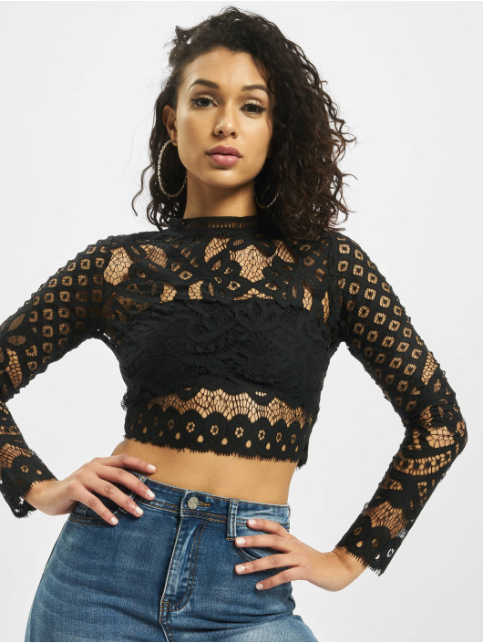 Missguided Top High Neck Patterend Lace negro