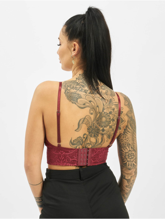 Missguided Top Harness Lace rød