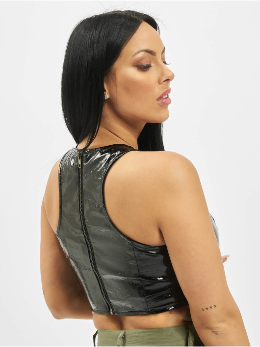 Missguided Top Vinyl Mock Croc Racer Neck schwarz