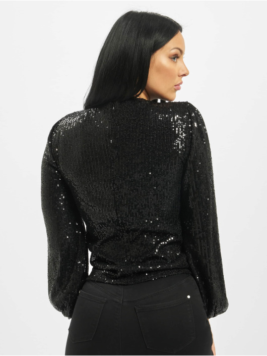 Missguided Top Sequin Balloon Round Neck Sleeve schwarz