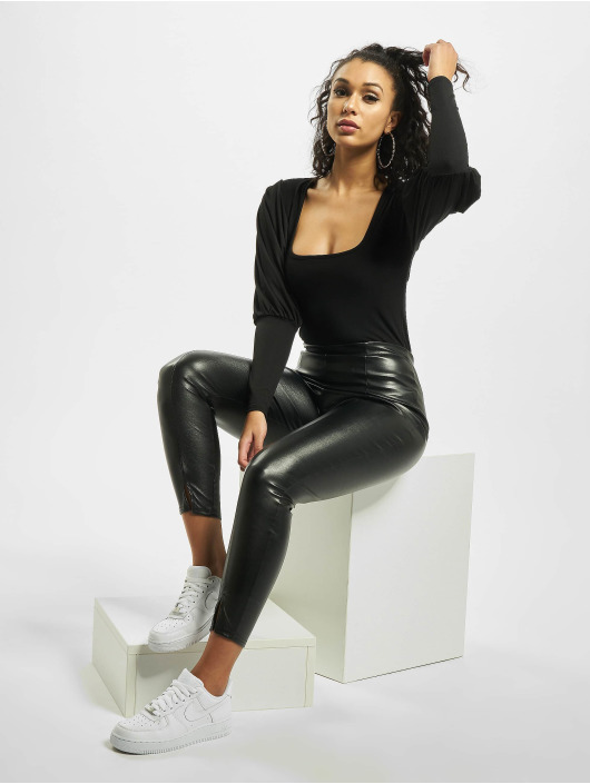 Missguided Top Rib Puff Sleeve Square Neck Milkmaid schwarz