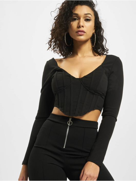 Missguided top High Bust Point Long Sleeve Corset zwart