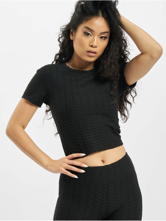 Missguided top Textured zwart