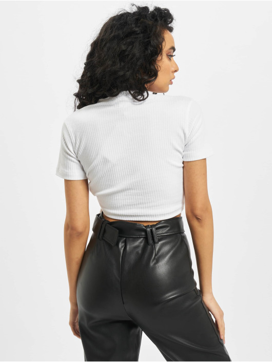 Missguided Topper Ribbed Ruched Seam Short Sleeve hvit