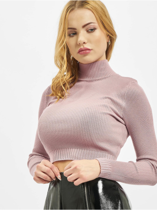 Missguided Topper Basic High Neck Rib Knitted rosa