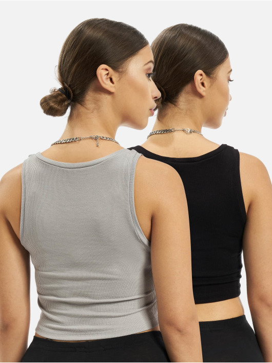 Missguided Topper 2 Pack Rib Sleeveleshort Sleeve Crop svart