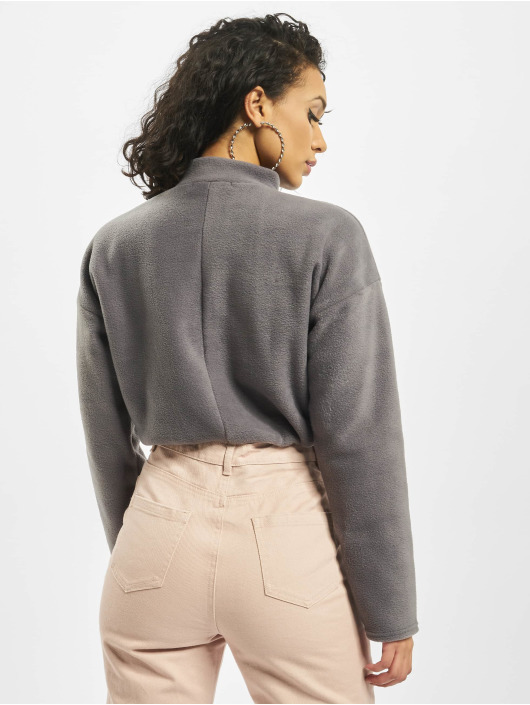 Missguided Tops sans manche Fleece High Neck Crop Co-Ord gris