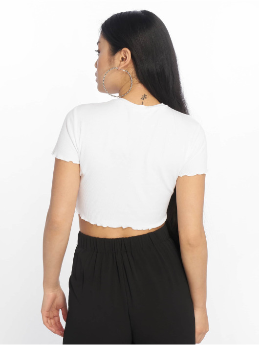 Missguided Tops Lettuce Hem Ribbed bialy