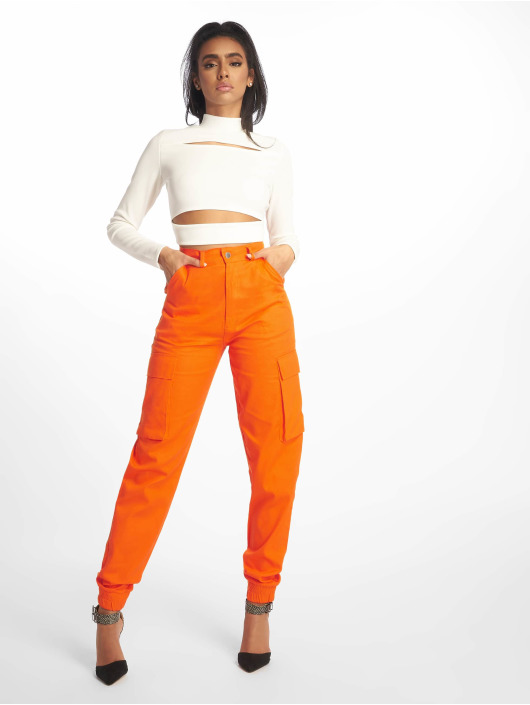 Missguided Tops Ribbed High Neck Cut Out bialy