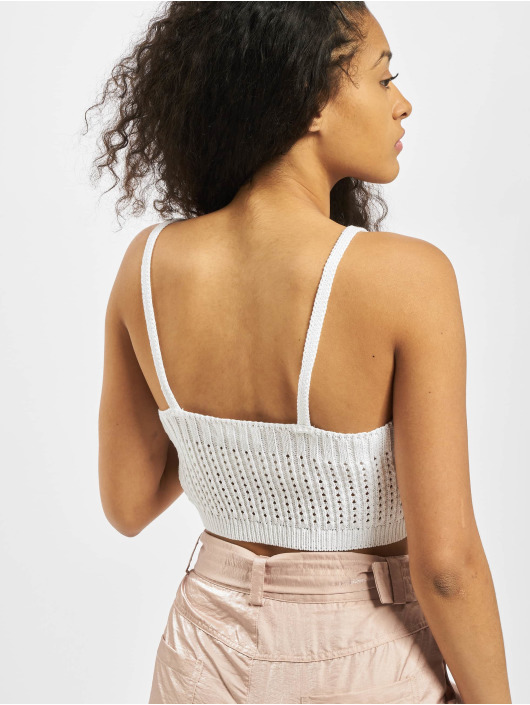 Missguided Tops Knitted V Neck Crop bialy