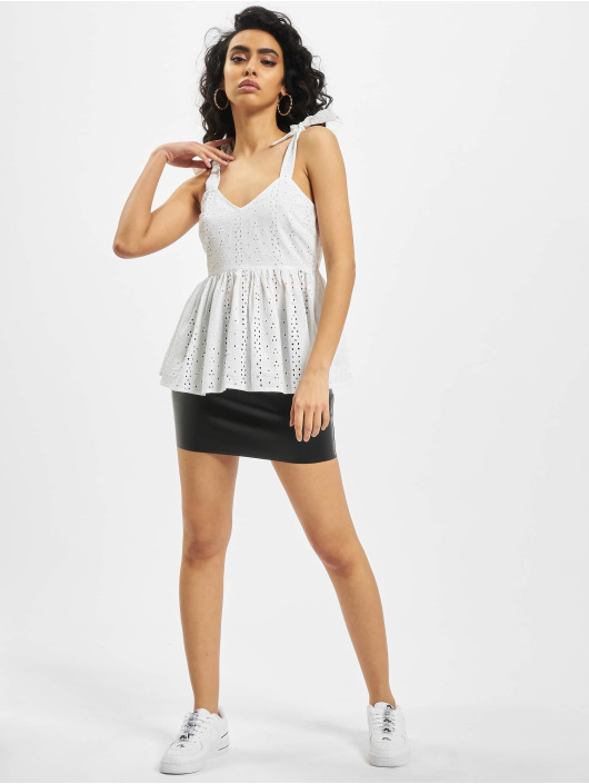 Missguided Tops Broderie Bow Shoulder Strappy Smock bialy