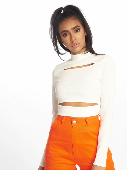 Missguided Tops Ribbed High Neck Cut Out bianco