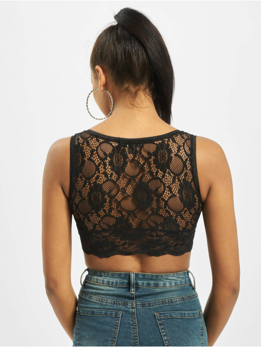 Missguided Tops Jersey Lace Shell czarny