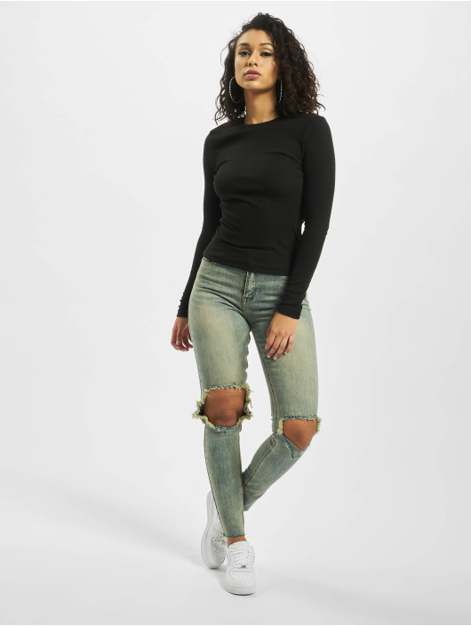 Missguided Tops Tall Long Sleeve Crew Neck czarny