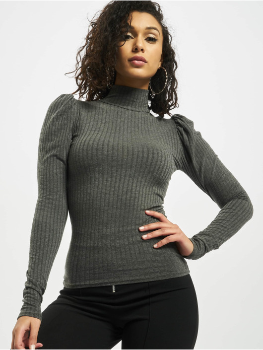 Missguided Tops Rib High Neck Puff Sleeve grigio