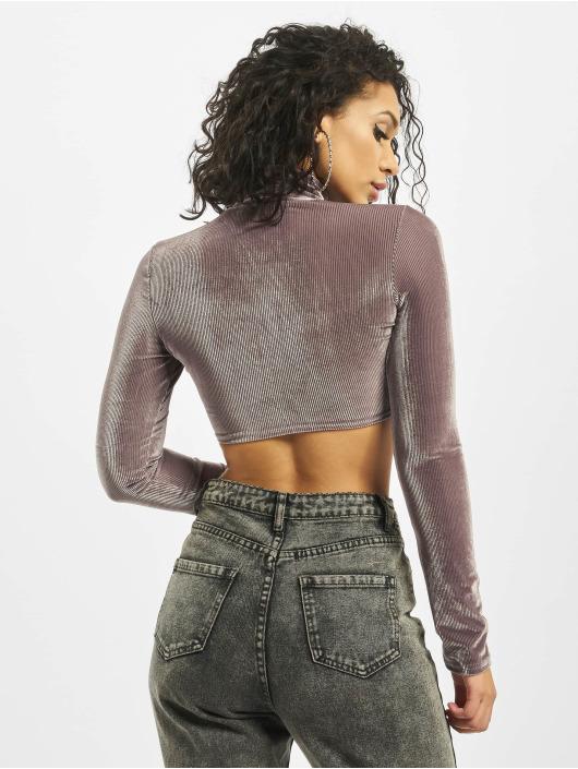 Missguided Tops Corded Velvet Long Sleeve grigio