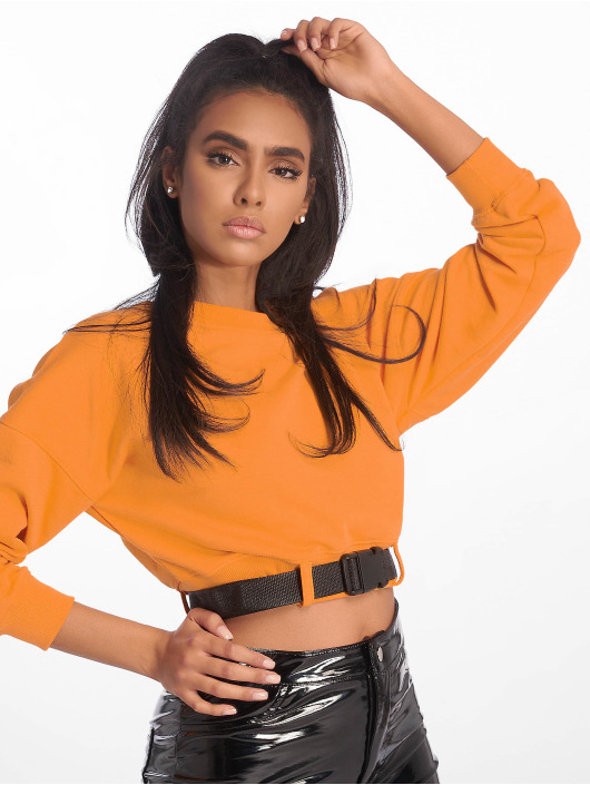 Missguided Tops Belted Crop Sweat pomaranczowy