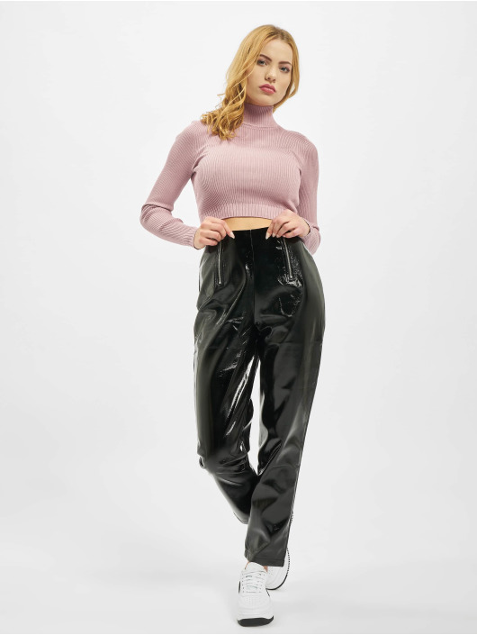 Missguided Tops Basic High Neck Rib Knitted rózowy