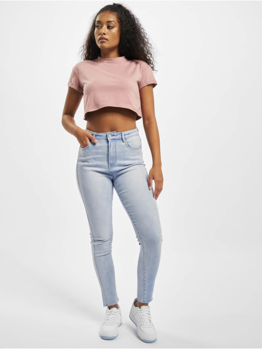 Missguided Tops Petite Exclusive Roll Sleeve Crop rózowy