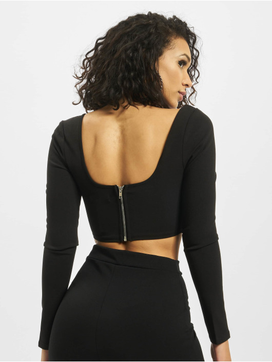 Missguided Topy High Bust Point Long Sleeve Corset čern