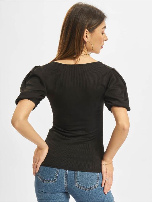 Missguided Topy Rib Puff Short Sleeve Square Neck Milkmaid čern