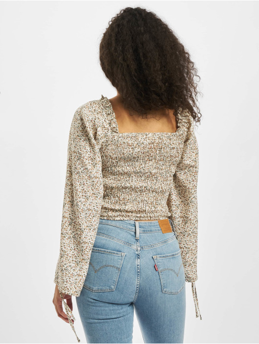 Missguided Topy Shirred Balloon Sleeve Milkmaid Ditsy Floral barvitý