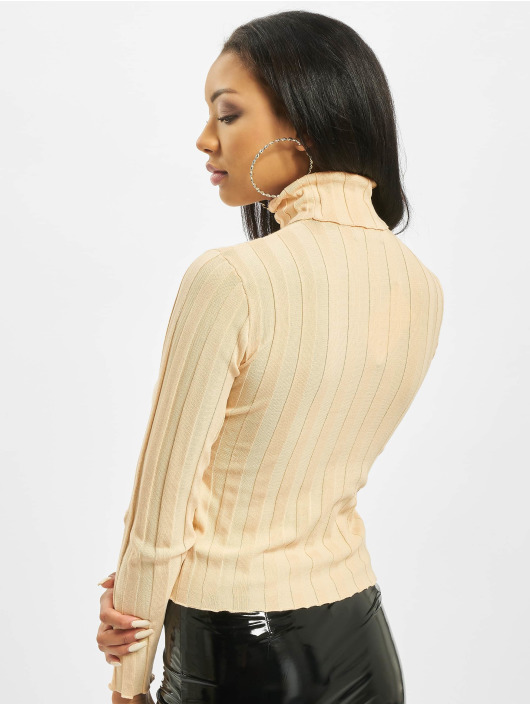 Missguided Trøjer High Neck Rib Long Sleeve Knitted beige