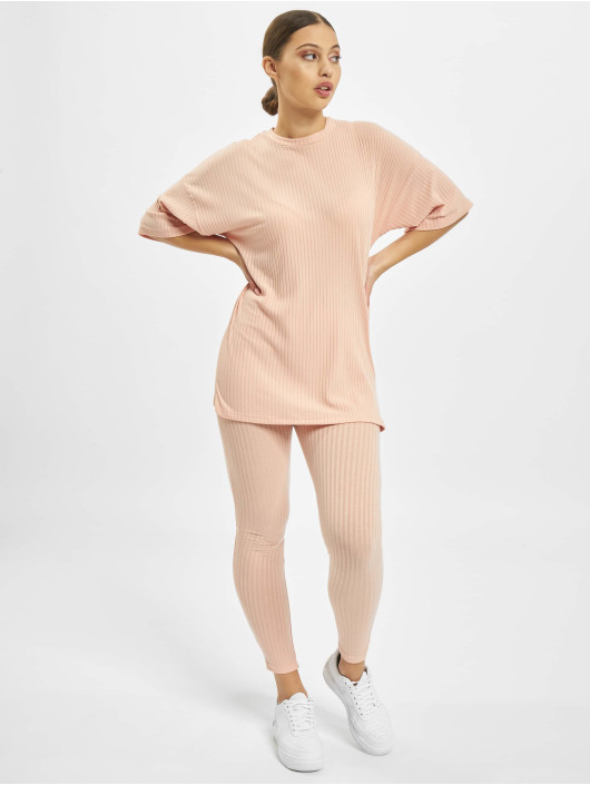 Missguided Trainingspak Ribbed Oversized rose