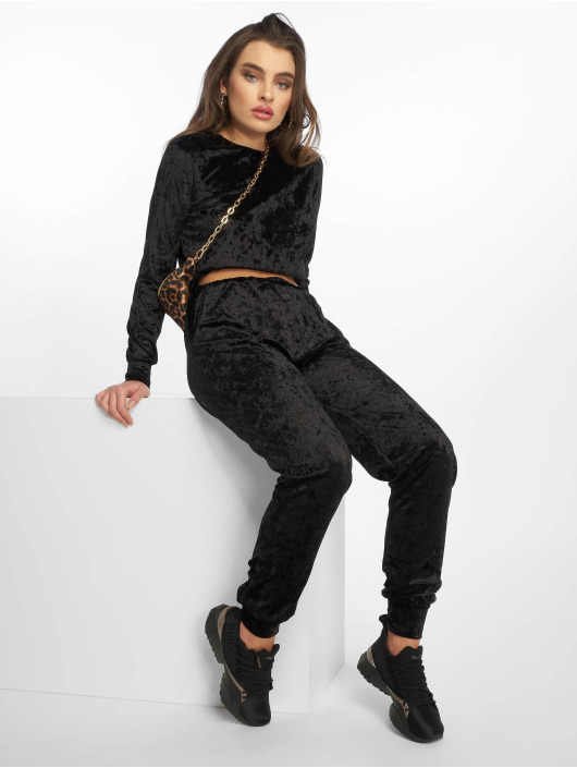 Missguided Trainingspak Velvet Loungewear zwart