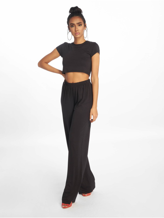 Missguided Trainingspak Crop Top And Wide Leg zwart