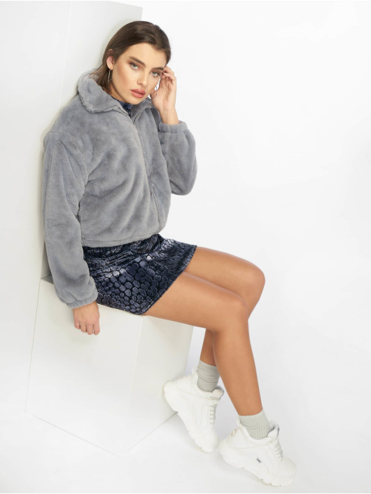 Missguided Transitional Jackets Faux Fur grå