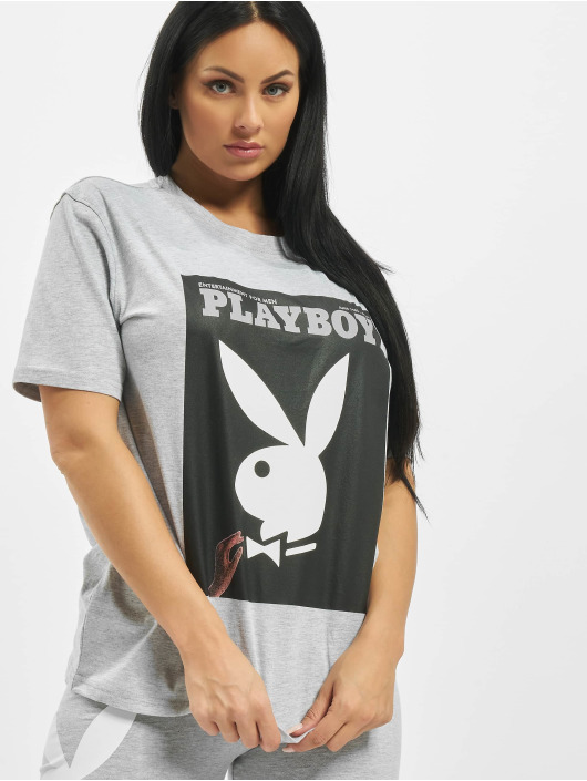 Missguided Tričká Playboy Bunny Magazine OS šedá