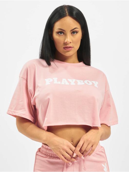 Missguided Tričká Playboy Cropped Lounge ružová