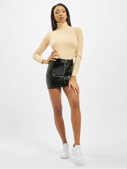 Missguided Tröja High Neck Rib Long Sleeve Knitted beige