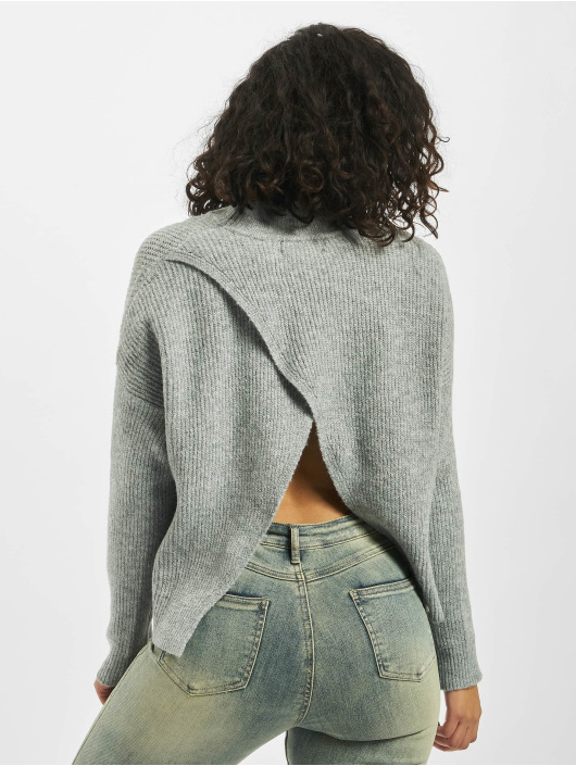 Missguided Tröja Petite Cut Out Back Crew Neck grå