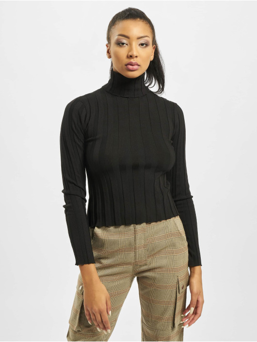 Missguided Tröja High Neck Rib Long Sleeve svart