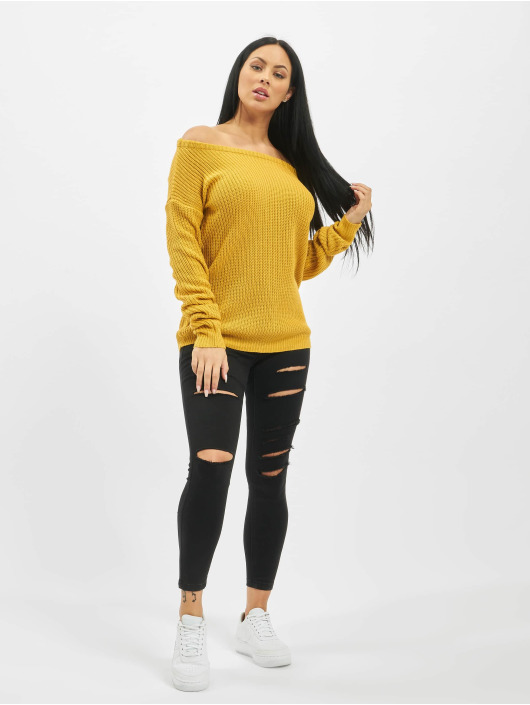 Missguided trui Tall Core Off Shoulder geel
