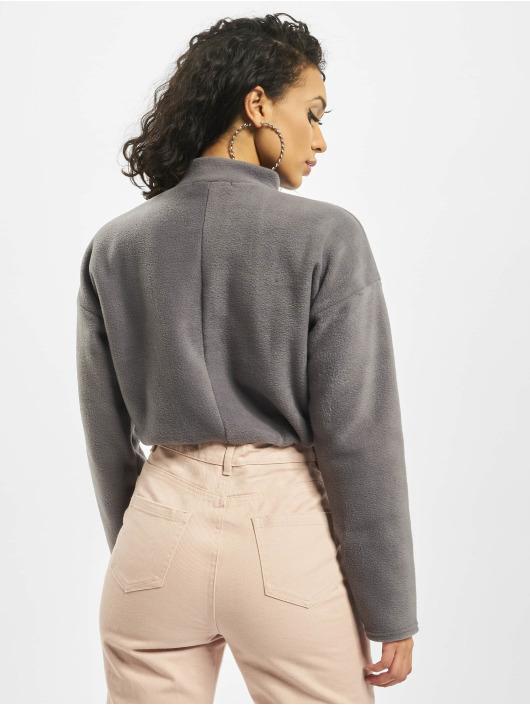 Missguided trui Fleece High Neck Crop Co-Ord grijs