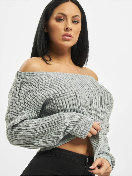 Missguided trui Petite Core Off Shoulder grijs