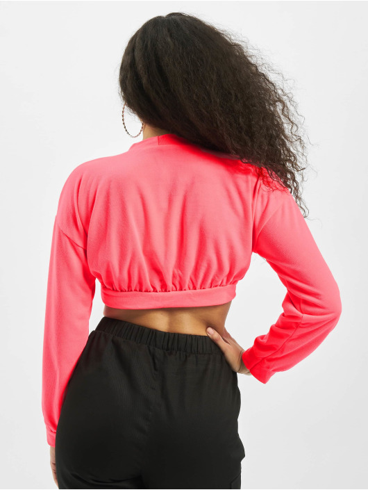 Missguided trui Petite L/S Waistband Crop pink