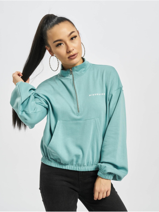 Missguided trui Half Zip Kangroo Pocket turquois