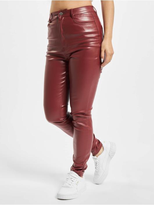 Missguided Tygbyxor Faux Leather röd