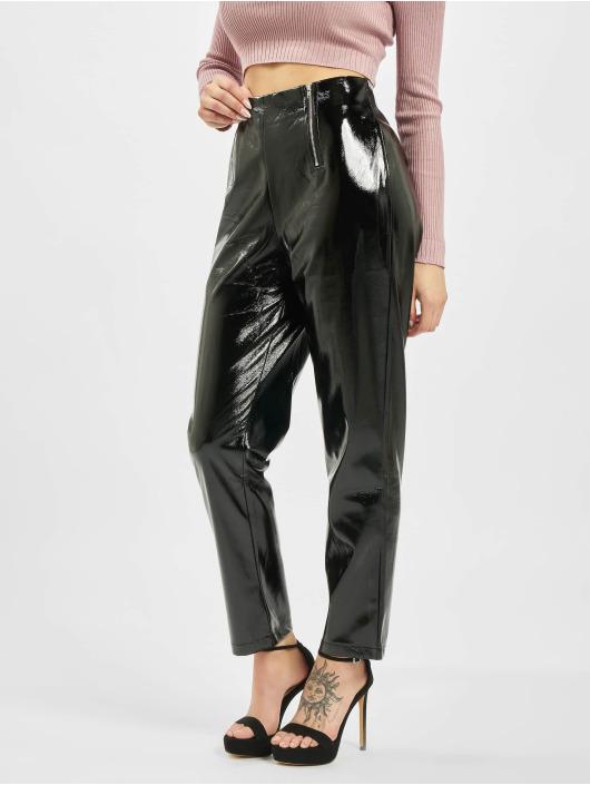 Missguided Tygbyxor Faux Leather High Shine Zip svart