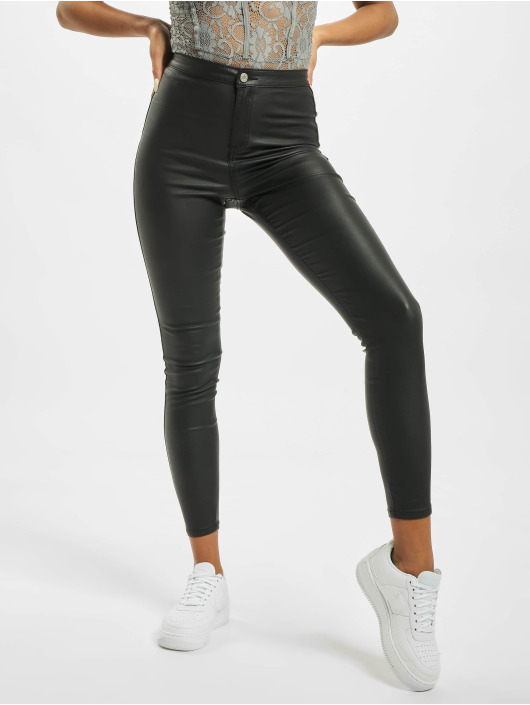 Missguided Tynne bukser Vice High Waisted Coated svart