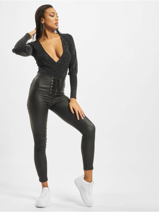 Missguided Tynne bukser Vice Coated Lace Front svart